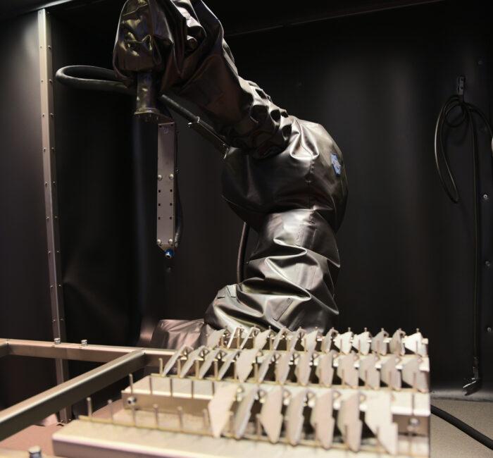 Stanowisko do śrutowania stali nierdzewnej